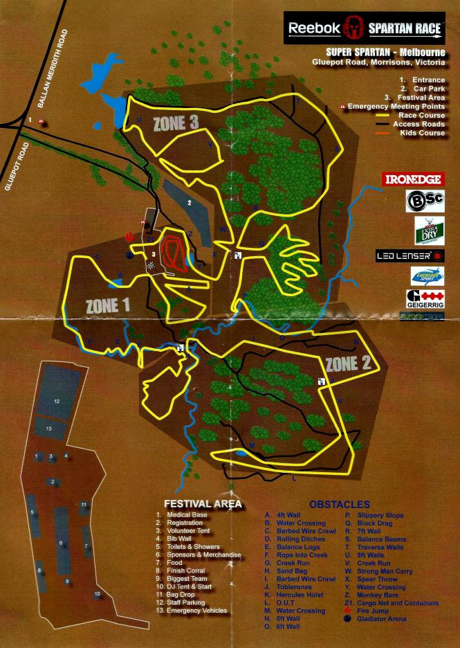Spartan Super Melbourne - Course Map